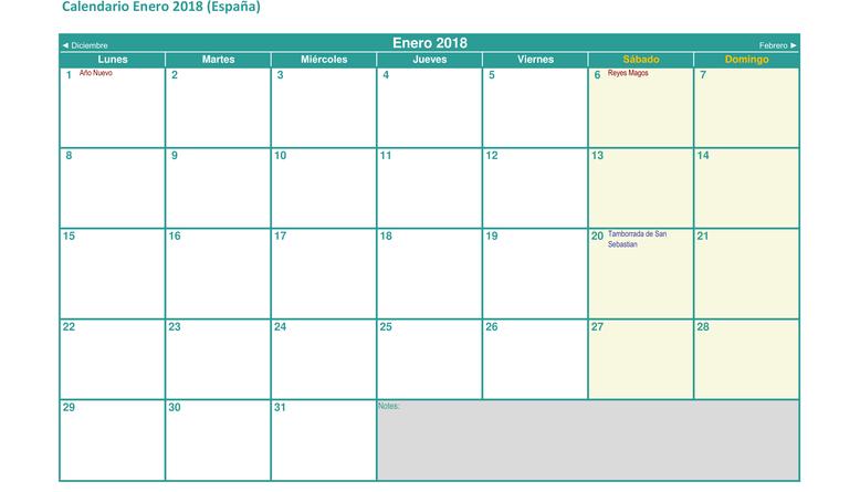 Calendario con festivos