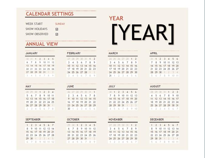 Calendario anual con días festivos
