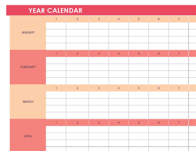 para cualquier año, formato horizontal