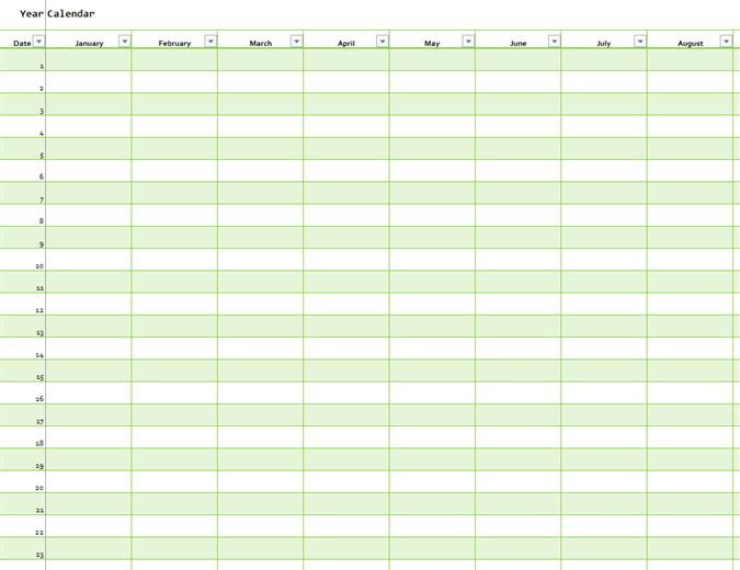 Calendario para cualquier año formato vertical