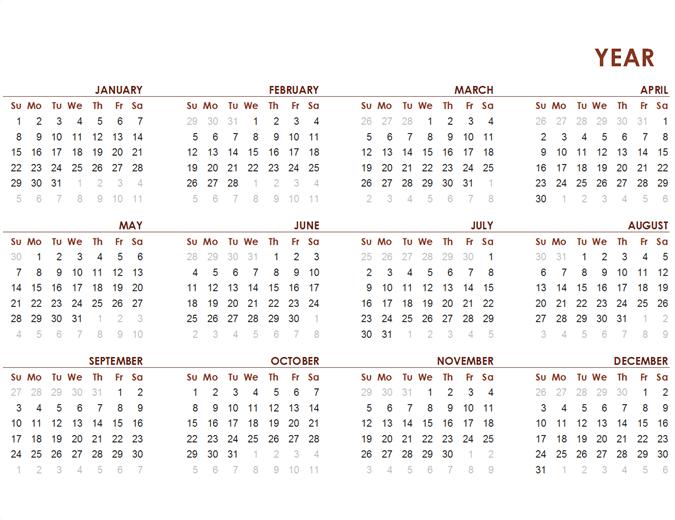 Calendario mundial del año completo