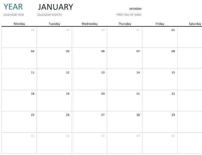 Cualquier año calendario de un mes