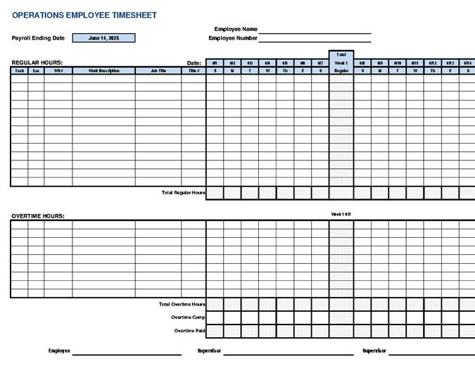 Tarjeta de tiempo del empleado de operaciones