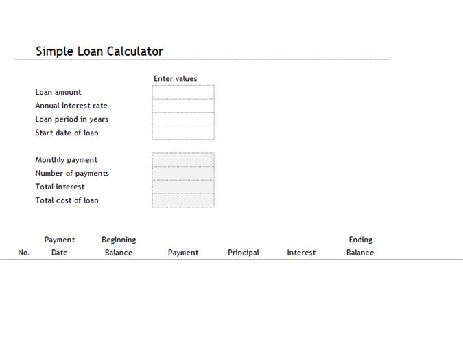 Calculadora de préstamos y tabla de amortización