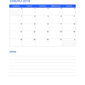 calendario 2018 con notas