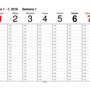 Calendario Semanal para 2018