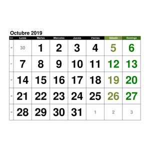 calendario octubre 2019