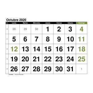 calendario octubre 2020