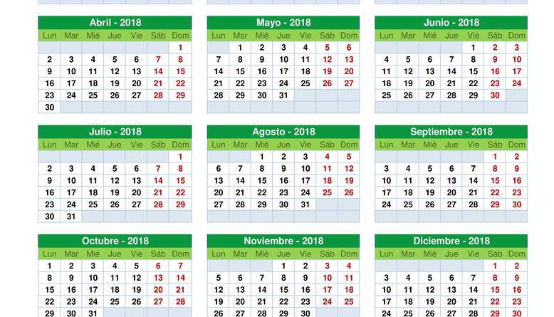 Modelo Calendario Anual 2018
