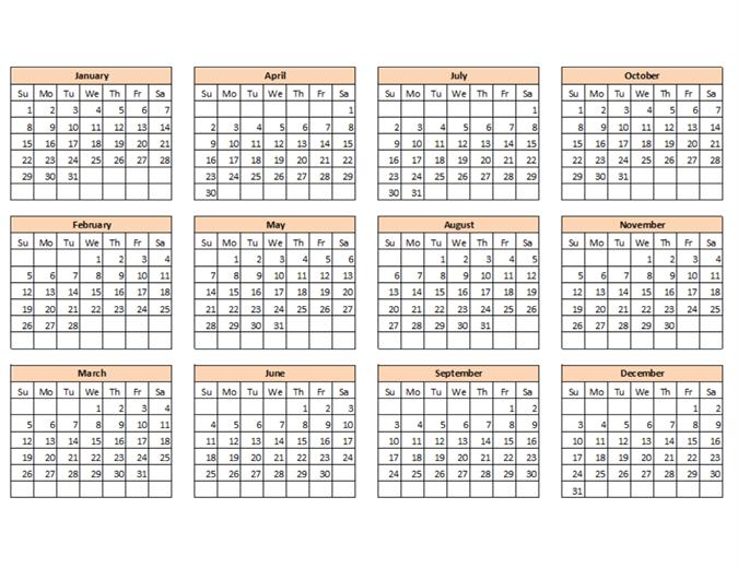 Plantilla para crear Calendarios
