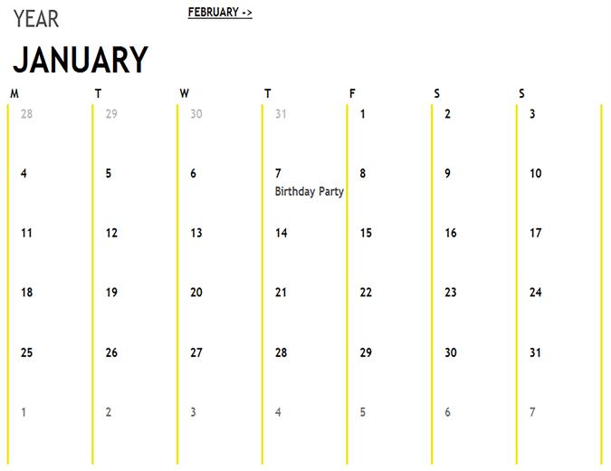 Calendario de 12 meses
