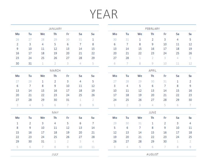 Calendario para cualquier año de lunes a domingos