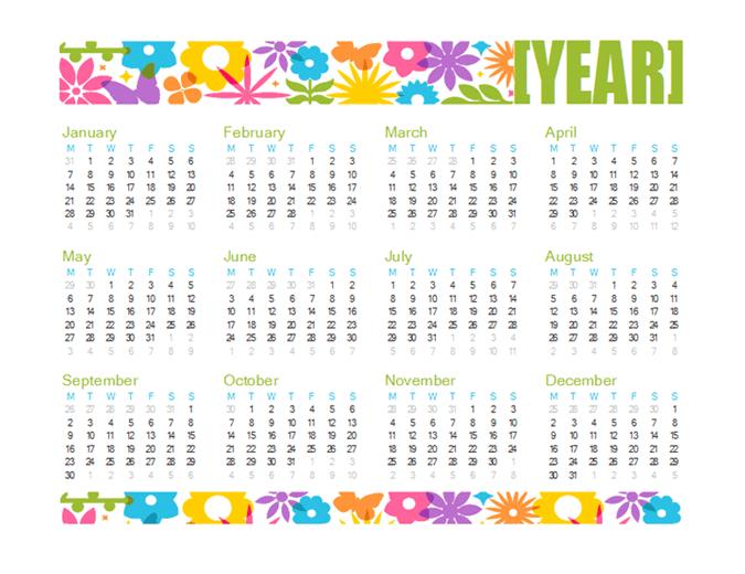 Calendario lúdico para cualquier año