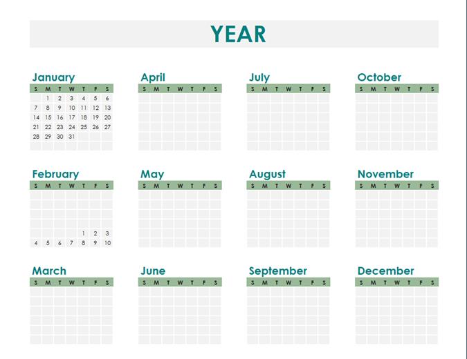 Calendario personalizado para cualquier año.