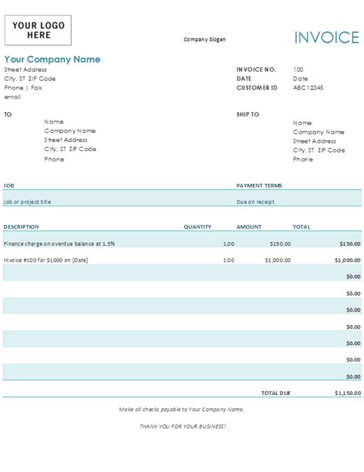 Factura con cargo de financiamiento (azul)
