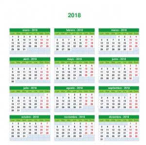 Plantilla Calendario Anual 2018