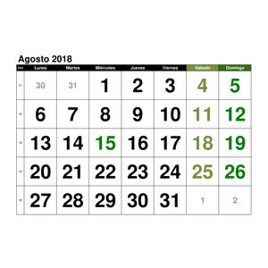 1cbc7c118 Calendario Agosto 2018 en formato EXCEL GRATIS