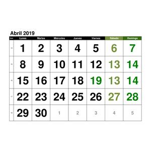 Calendario Agosto 2019 Numeros Grandes.Calendario Abril 2019 En Formato Excel Gratis