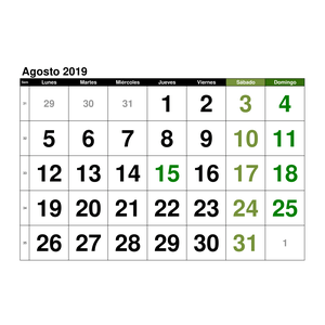 Pagina Calendario Agosto 2019.Plantillas De Calendarios Gratis Plantillas Excel Com