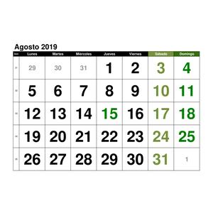 Calendario 2019 Agosto A Diciembre.Plantillas De Calendarios Gratis Plantillas Excel Com