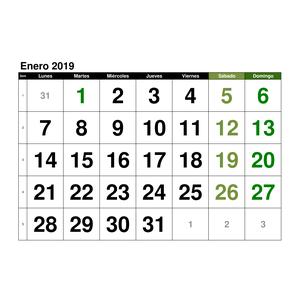 Mini Calendario 2019 Para Imprimir Grande.Plantillas De Calendarios Gratis Plantillas Excel Com