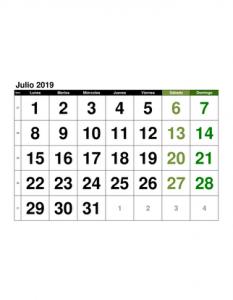 Julio Calendario 2019.Calendario Julio 2019 En Formato Excel Gratis
