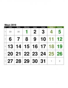 Calendario Mayo2019.Calendario Mayo 2019 En Formato Excel Gratis