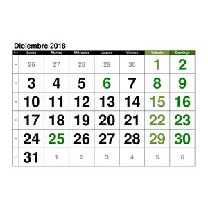 Calendario Diciembre.Calendario Diciembre 2018 En Formato Excel Gratis