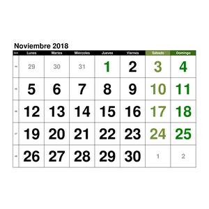 calendario noviembre 2018