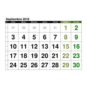 Calendario De Septiembre.Calendario Septiembre 2018 En Formato Excel Gratis