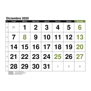 Calendario Diciembre.Calendario Diciembre 2020 En Formato Excel Gratis
